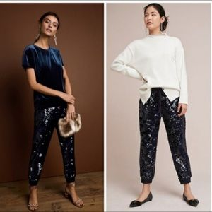 Anthropologie ETT TWA  Sequined Velvet Joggers